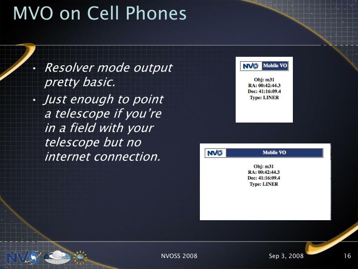 MVO on Cell Phones