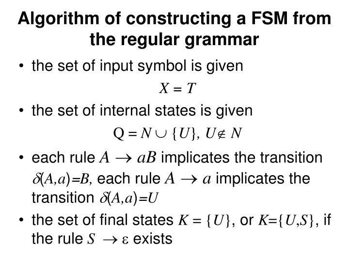 Algorithm of constru