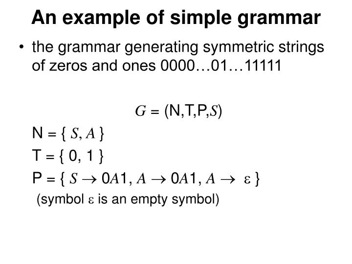 An example of simple grammar