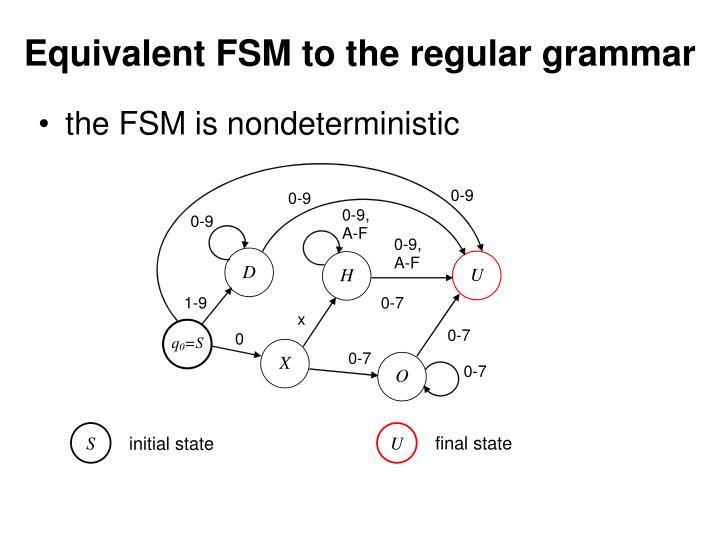 Equivalent FSM to the regular grammar