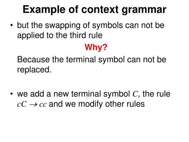 Example of context grammar