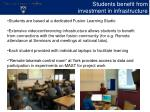students benefit from investment in infrastructure