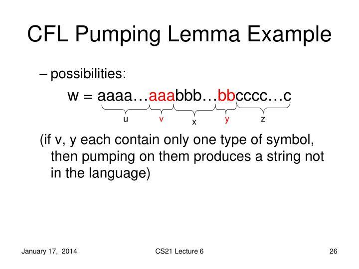 CFL Pumping Lemma Example