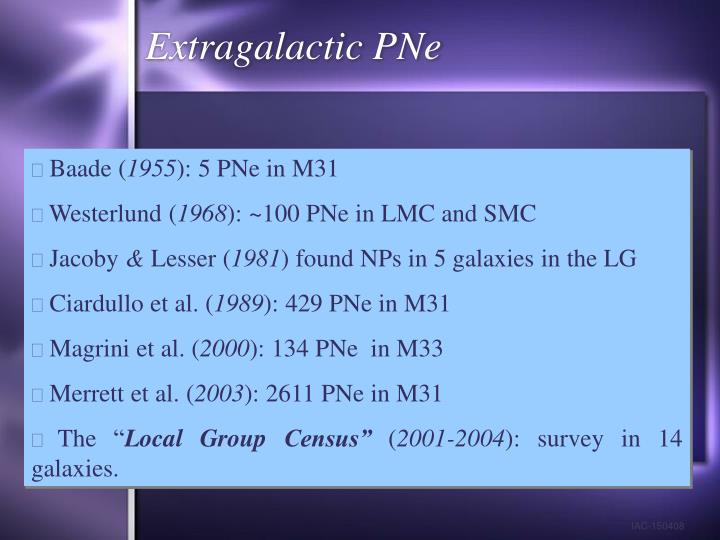 Extragalactic PNe