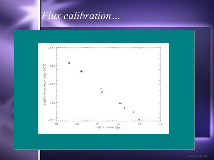 Flux calibration…