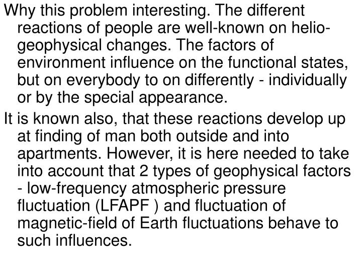 Why this problem interesting. The different reactions of people are well-known on helio- geophysical...