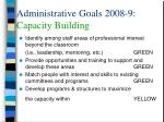 administrative goals 2008 9 capacity building