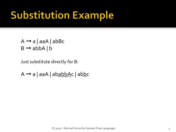Substitution Example