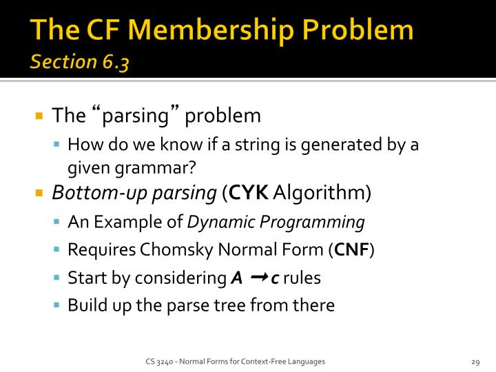 The CF Membership Problem