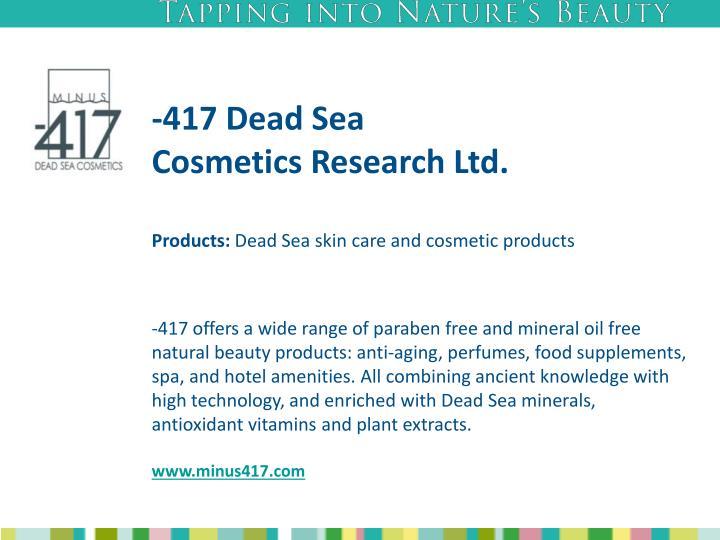 417 dead sea cosmetics research ltd