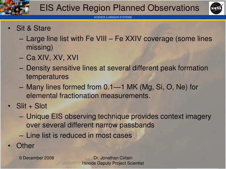 EIS Active Region Planned Observations