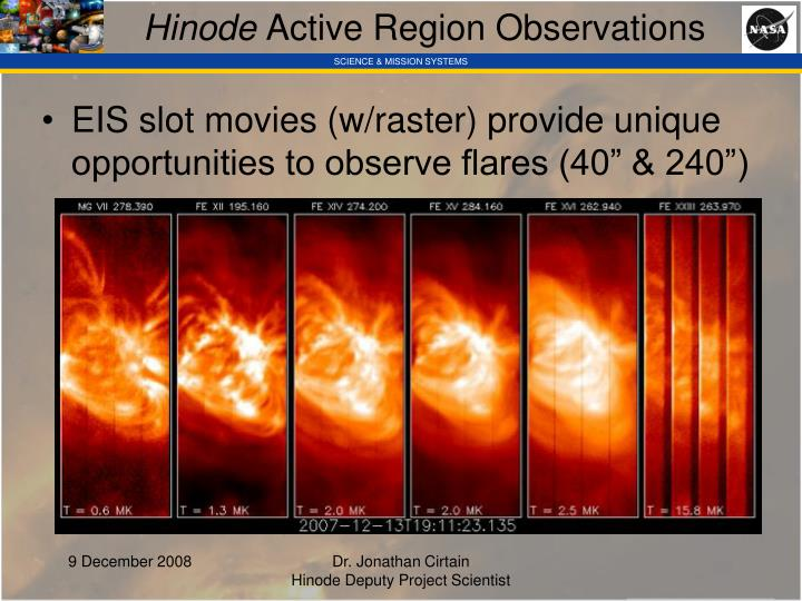 Hinode active region observations
