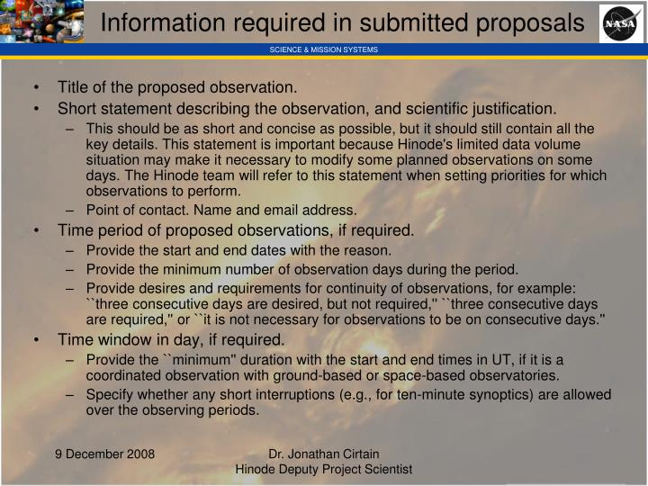 Information required in submitted proposals