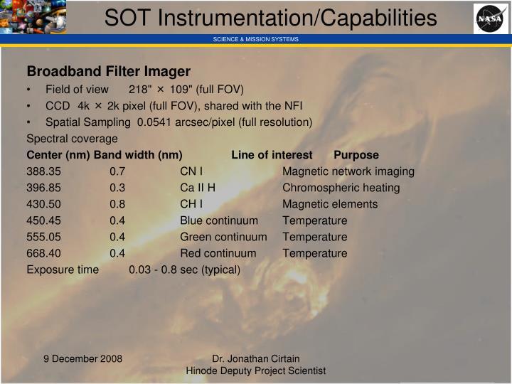 SOT Instrumentation/Capabilities