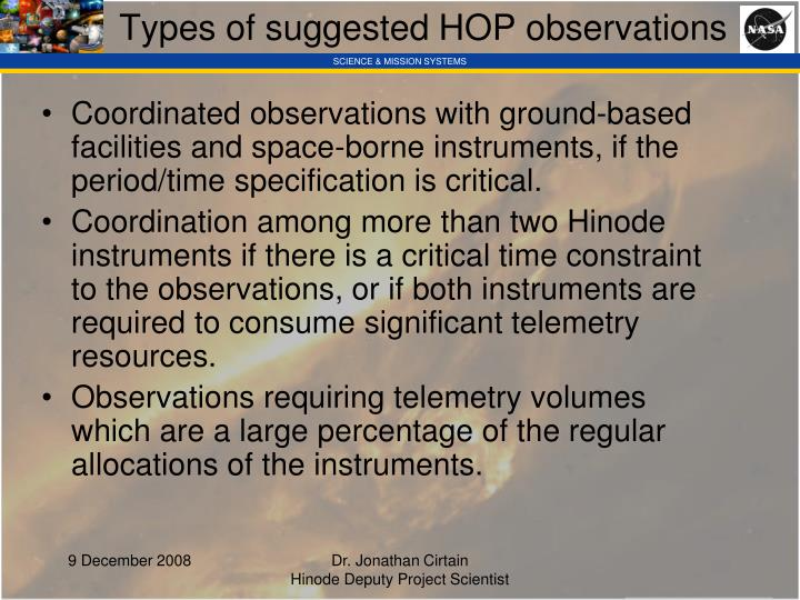 Types of suggested HOP observations
