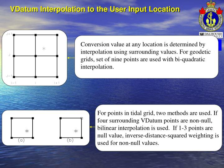VDatum Interpolation to the User Input Location