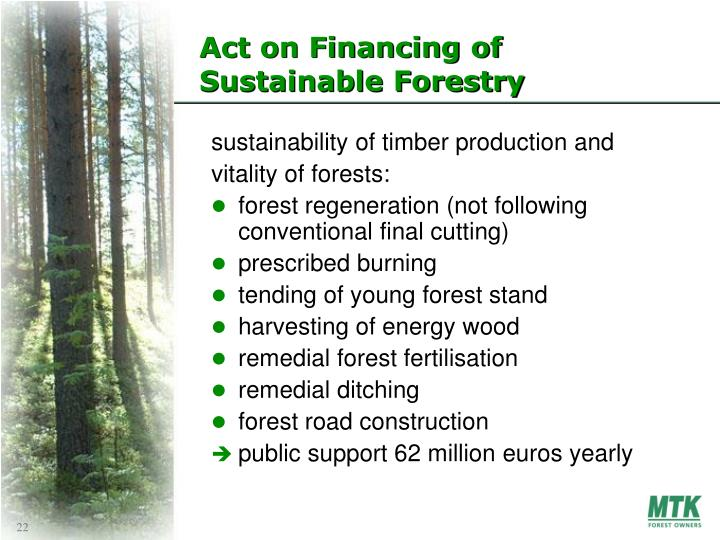 Act on Financing of Sustainable Forestry