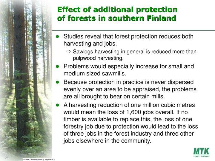 Effect of additional protection of forests in southern Finland