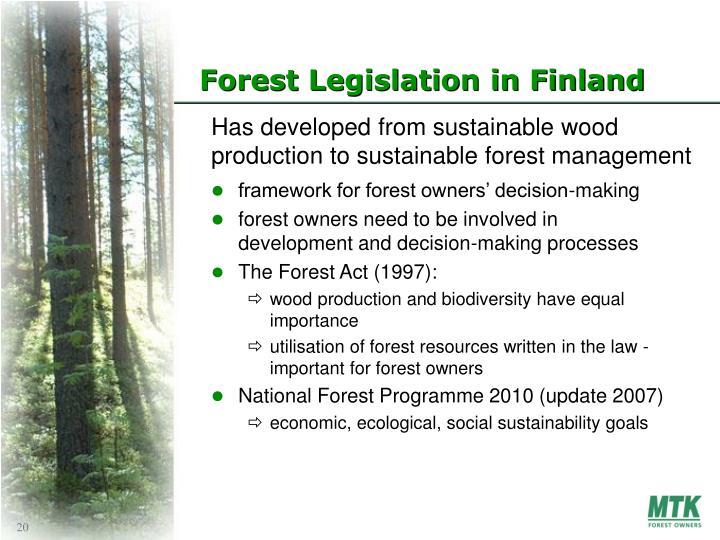 Forest Legislation in Finland