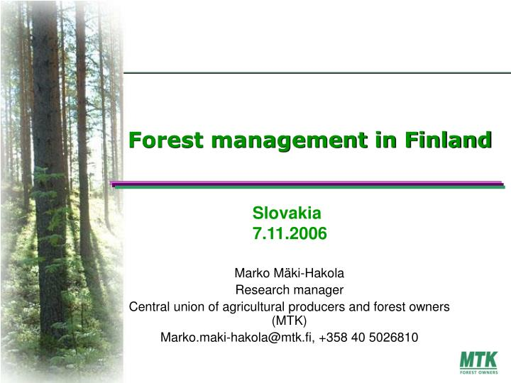 Forest management in finland