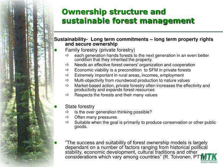Ownership structure and sustainable forest management