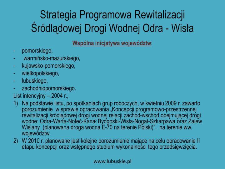 Strategia programowa rewitalizacji r dl dowej drogi wodnej odra wis a