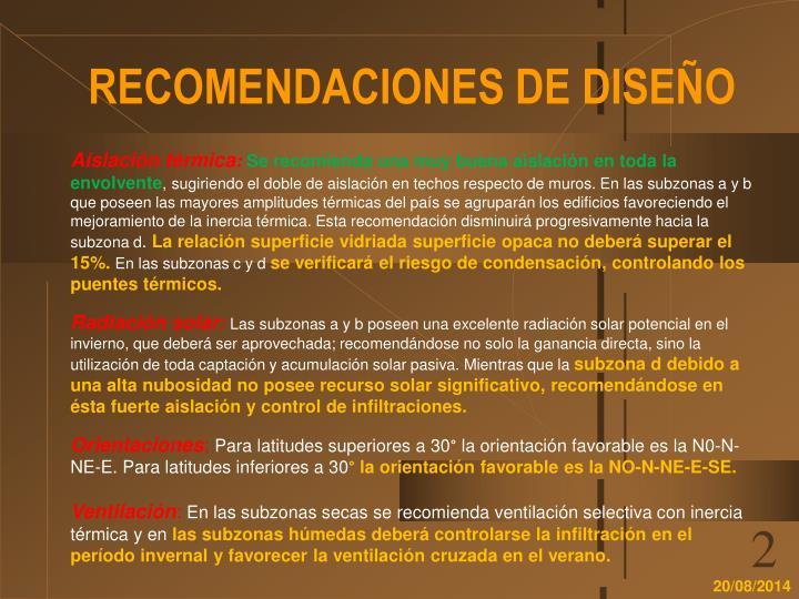 RECOMENDACIONES DE DISEÑO