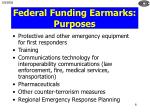 federal funding earmarks purposes