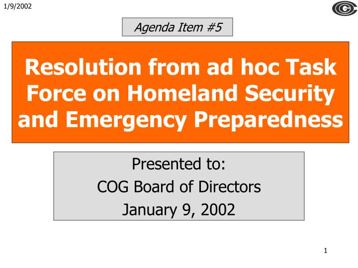 resolution from ad hoc task force on homeland security and emergency preparedness n.