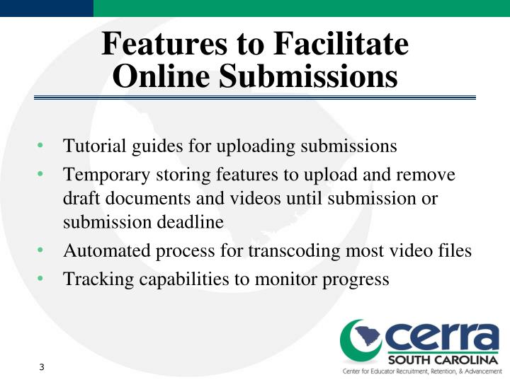 Features to facilitate online submissions