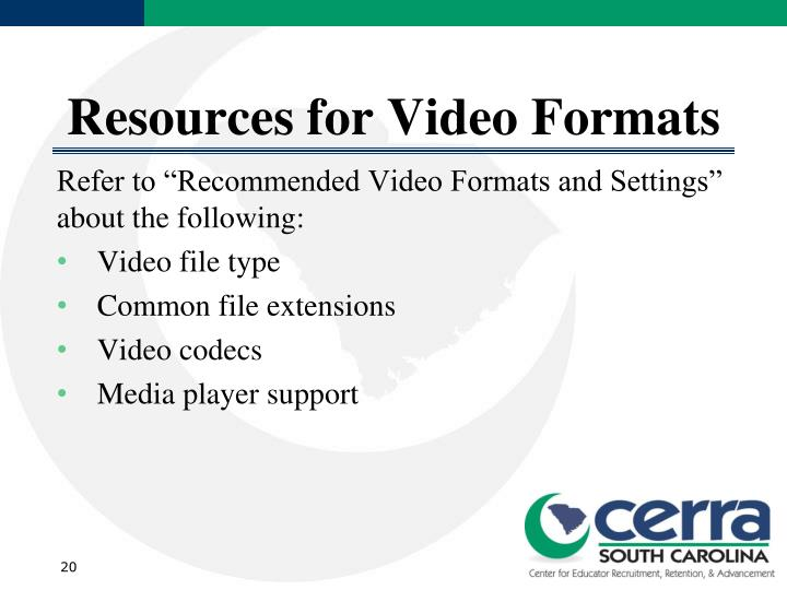 Resources for Video Formats