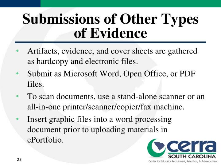 Submissions of Other Types of Evidence