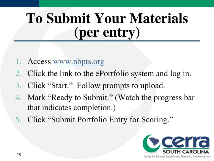 To Submit Your Materials (per entry)