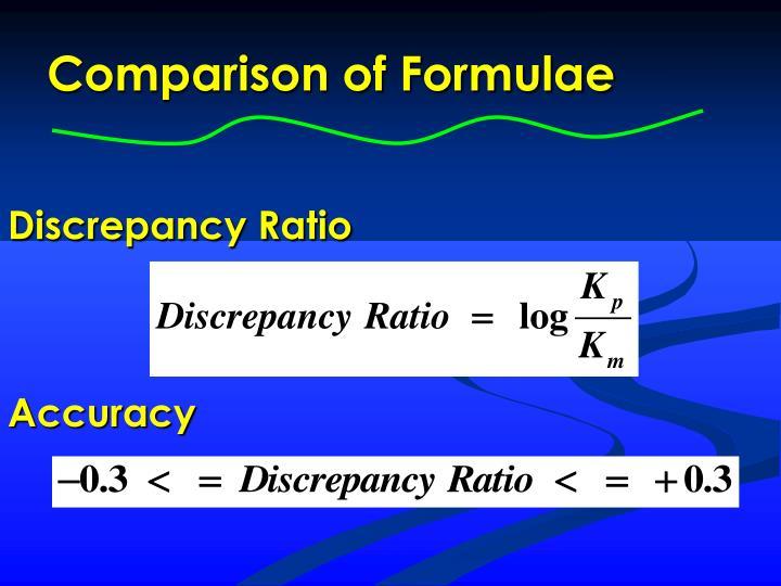 Comparison of Formulae