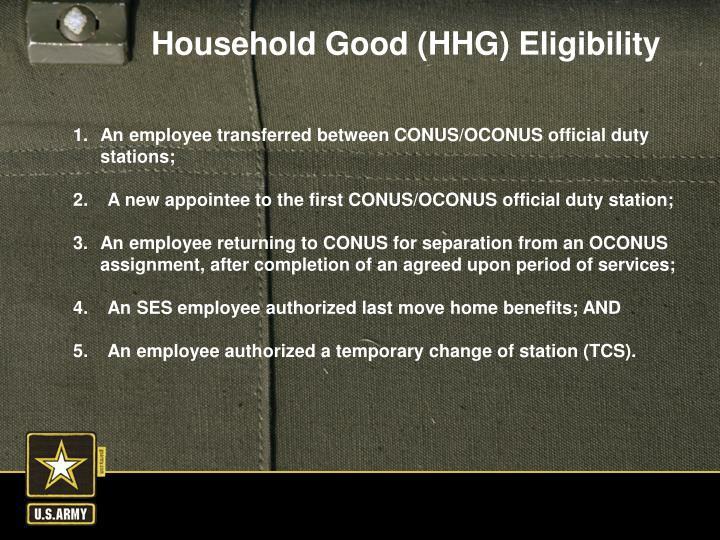 An employee transferred between CONUS/OCONUS official duty stations;