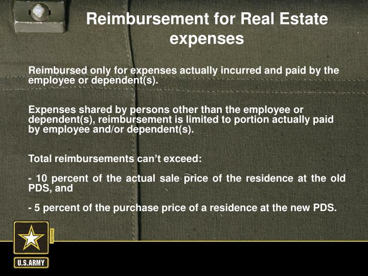 Reimbursed only for expenses actually incurred and paid by the employee or dependent(s).