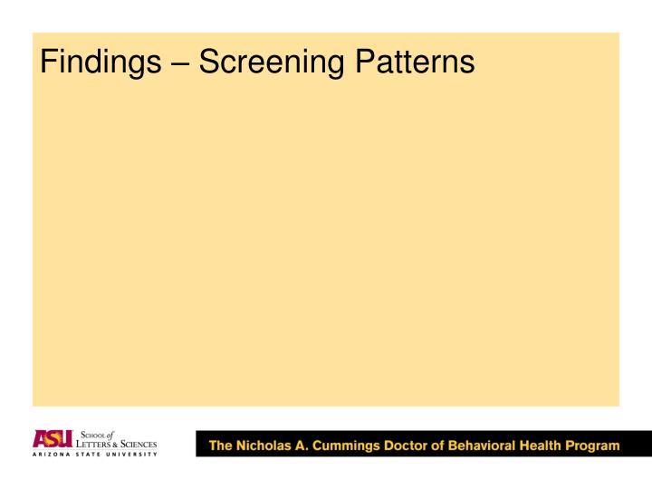 Findings – Screening Patterns