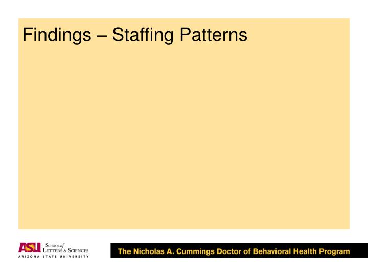 Findings – Staffing Patterns