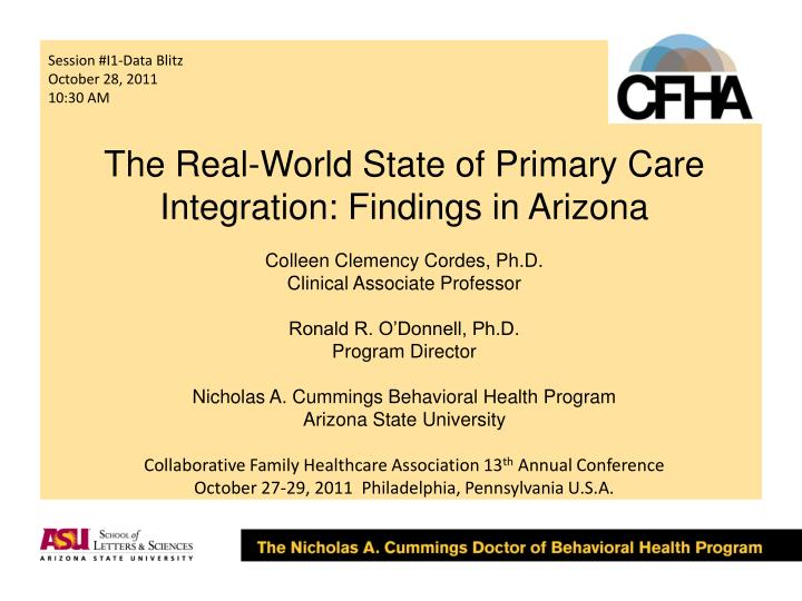 The real world state of primary care integration findings in arizona