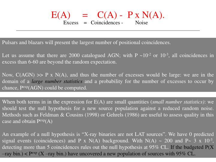 E(A)     =    C(A) -  P x N(A).