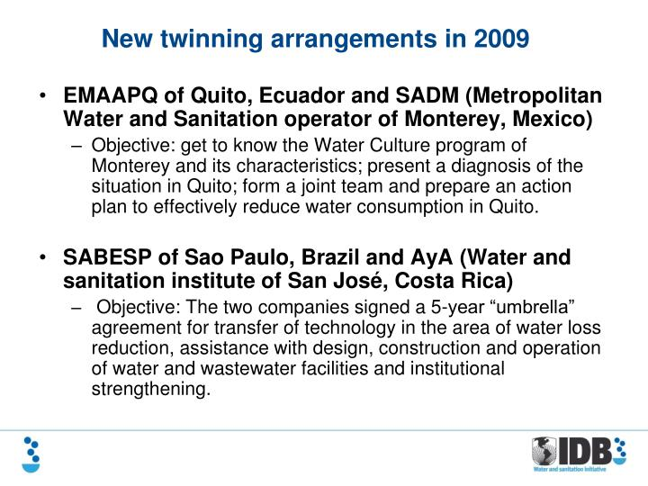 EMAAPQ of Quito, Ecuador and SADM (Metropolitan Water and Sanitation operator of Monterey, Mexico)