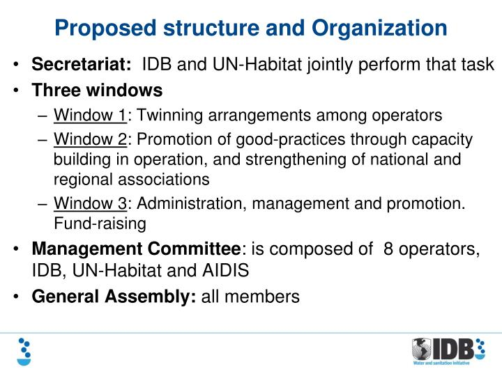 Proposed structure and organization