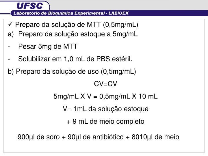 Preparo da solução de MTT (0,5mg/mL)