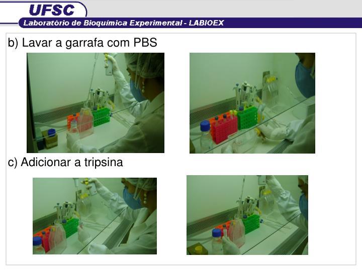 b) Lavar a garrafa com PBS