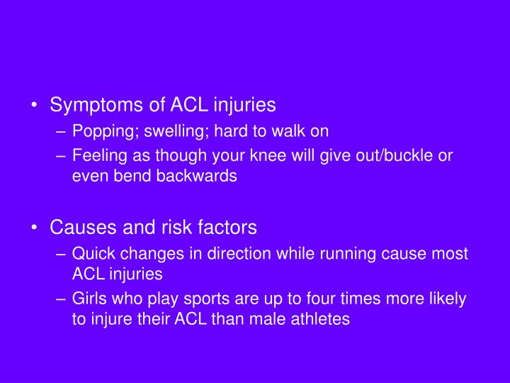 Symptoms of ACL injuries
