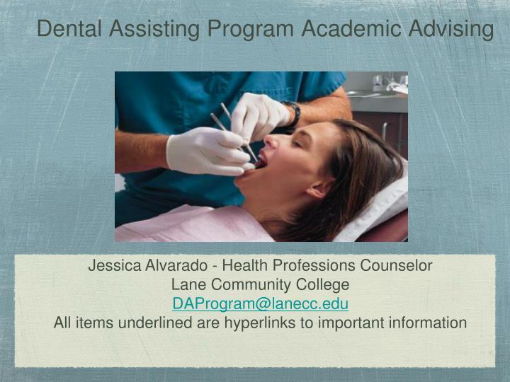 dental assisting program academic advising n.