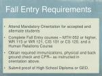 fall entry requirements