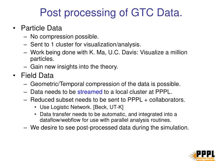 Post processing of GTC Data.
