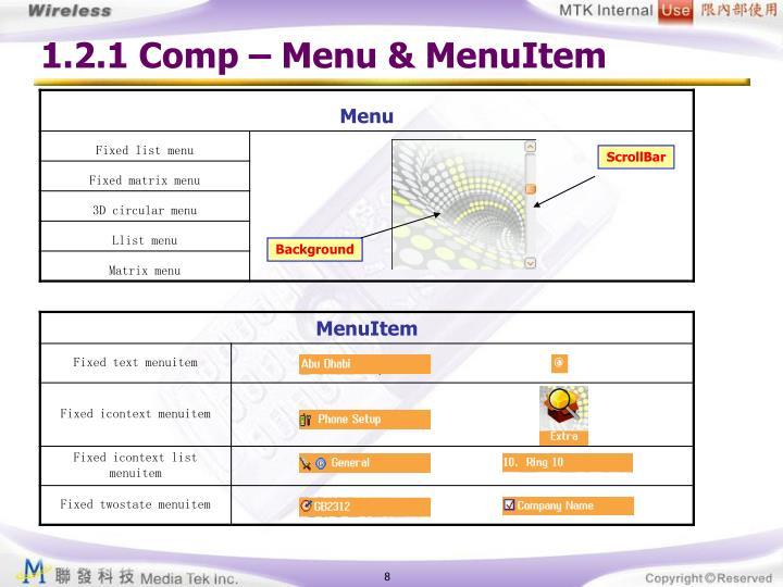 1.2.1 Comp – Menu & MenuItem