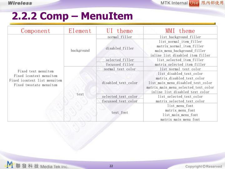 2.2.2 Comp – MenuItem
